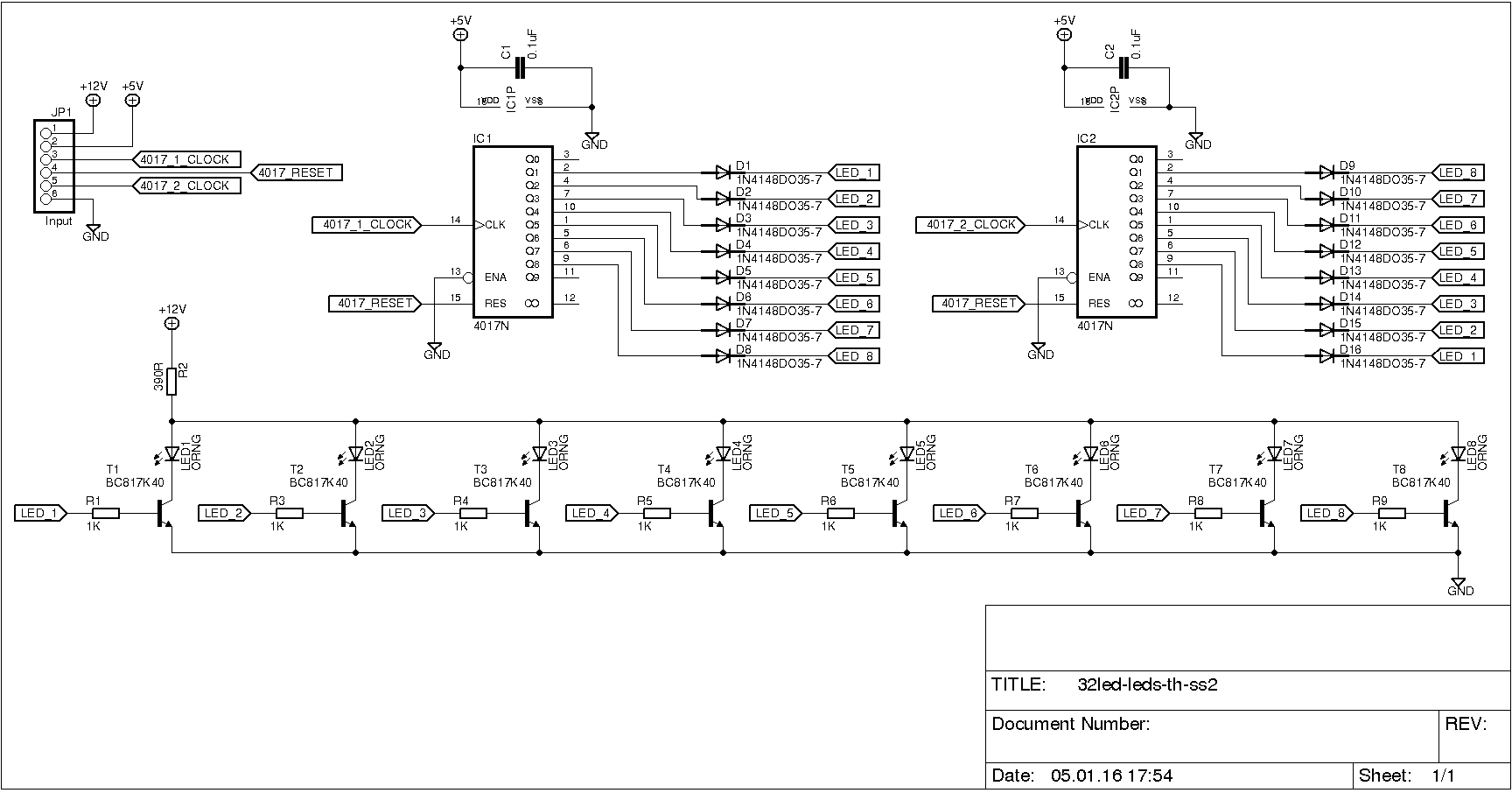 the output on the second 4017 ic is connected in the opposite direction  q1  to led eight, q2 to led seven, etc     i made four pcbs based on this  schematic: