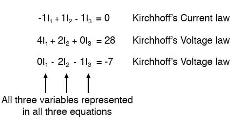 kirchhoffs current law equation and two kirchhoffs voltage law image