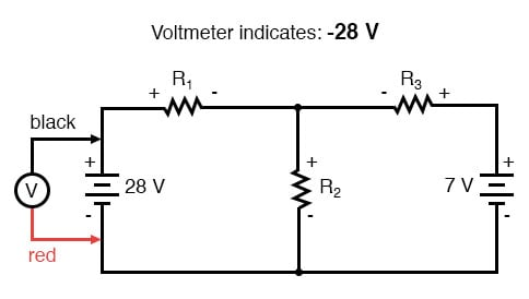 kirchhoffs voltage law negative voltage