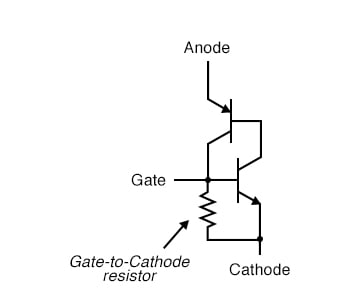 Larger SCRs have gate to cathode resistor.