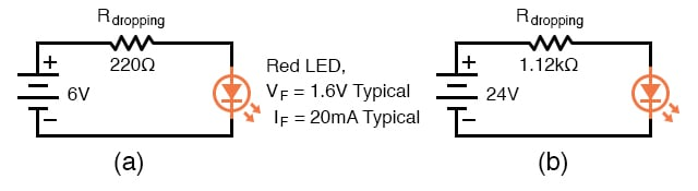 Setting LED current at 20 ma. (a) for a 6 V source, (b) for a 24 V source.