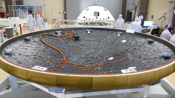 MEDLI2 sensors, electronics, and harnessing are installed on the Mars 2020 heatshield.