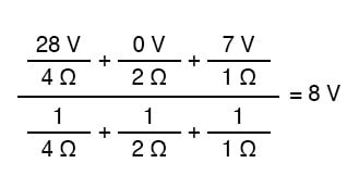 millmans theorem equation actual value