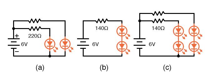 Multiple LEDs: (a) In parallel, (b) in series, (c) series-parallel
