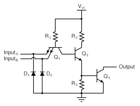 Transistor has one collector, one base, and two emitters, and in the circuit.
