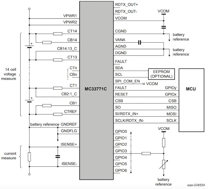 NXP's MC33771C applications diagram with SPI.