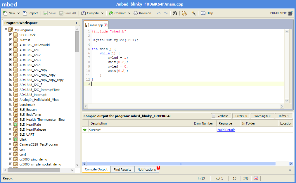 Download Your First Program Using ARM mbed and KEIL MDK V5