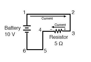 polarity of the resistors voltage drop