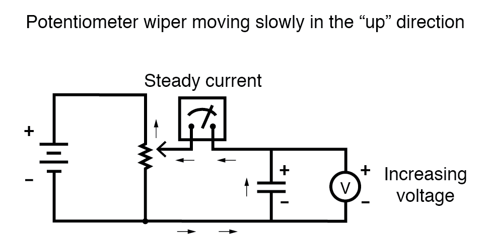 potentiometer wiper moving slowly in the up direction