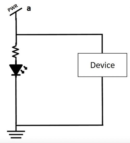 Example of a power indicator LED circuit.