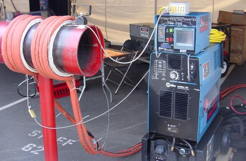 Induction heating: Primary insulated winding induces current into lossy iron pipe (secondary).