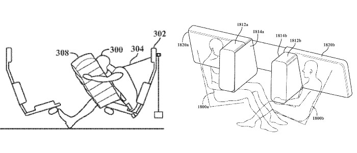 Two figures showing sketches of Apple's proposed occupant safety system.