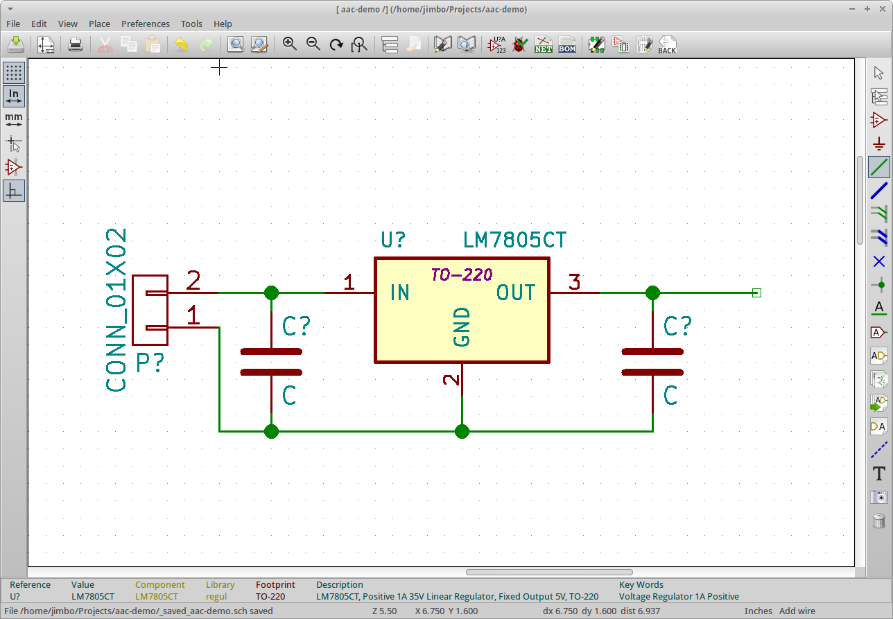 Introduction To Kicad On Ubuntu Ve Also Been Looking For The Schematics And Gerber Files But They You Can Rotate Parts 90 Degrees By Using R So Far Should Have Something Like This