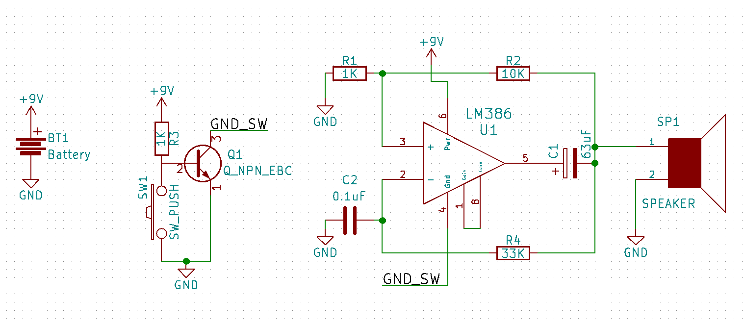 Build Your Own Alarm System With An Lm386 Amplifier And Npn General Purpose Circuit For Resistive Sensor The Schematic