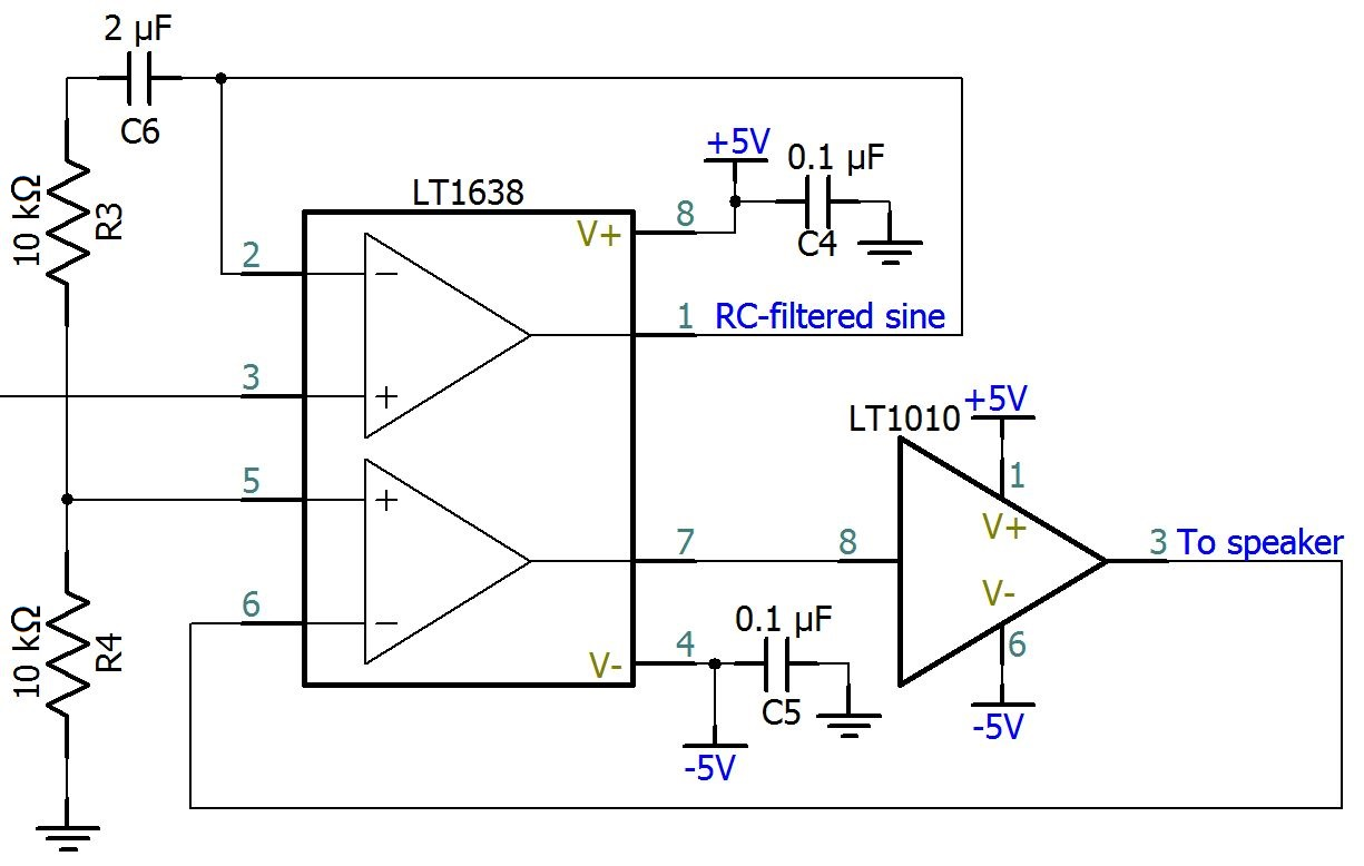 Efm8 Sound Synthesizer Driving The Speaker Buffer Circuit Schematic Diagram As Indicated By Lt1010 Is Designed To Be Included Within Feedback Loop Of Op Amp Speakers Positive Terminal Connected