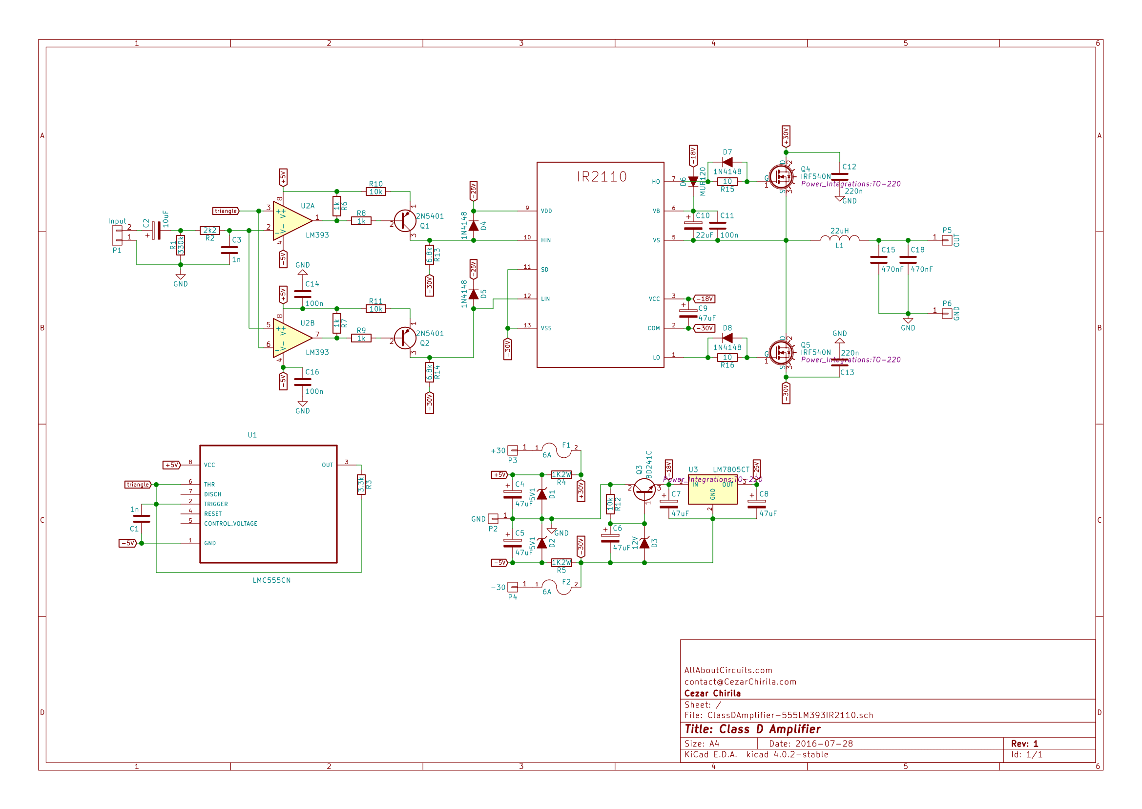 How To Build A Class D Power Amp Schematic Drawing With Eagle Electronic Circuits The Of Amplifier