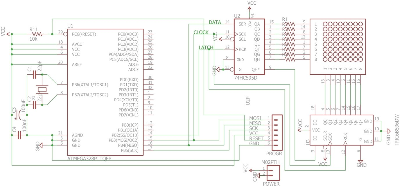 Driving Led Arrays With An Arduino Above Circuit Diagram For Diode Matrix Showing Wiring References Lets Now Analyse How This Works We Have A Microcontroller Two Shift Registers And Array The Are Daisy Chained