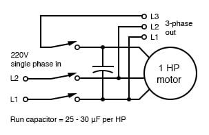 Self-starting static phase converter. Run capacitor = 25-30µF per HP. Adapted from Figure 7, Hanrahan