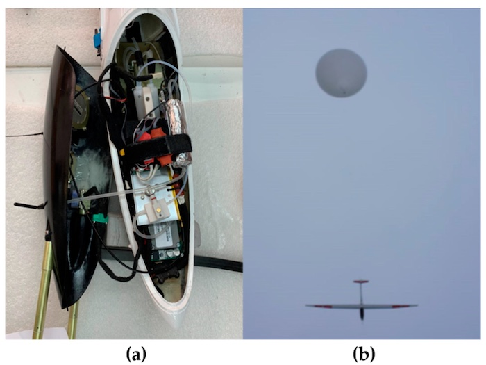 An image of (a) the various sensor packages in the HiDRON's fusalodge and (b) an airial view of the HiDRON UMV.