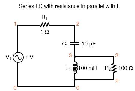 Series LC resonant circuit with resistance in parallel with L.