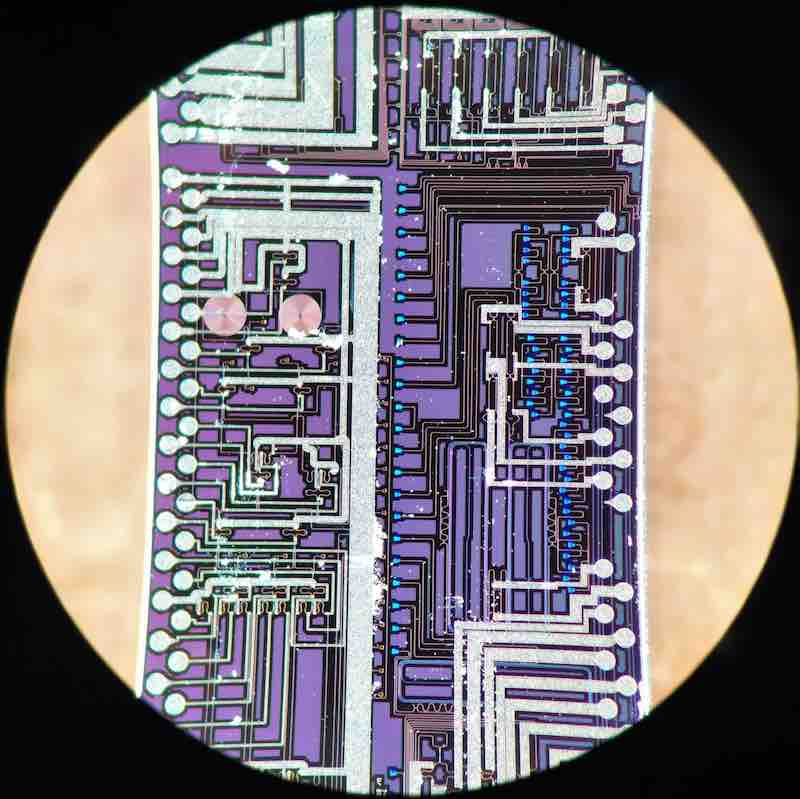 A silicon photonic chip used to generate photons.