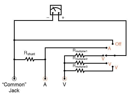 simple analog voltammeter schematic