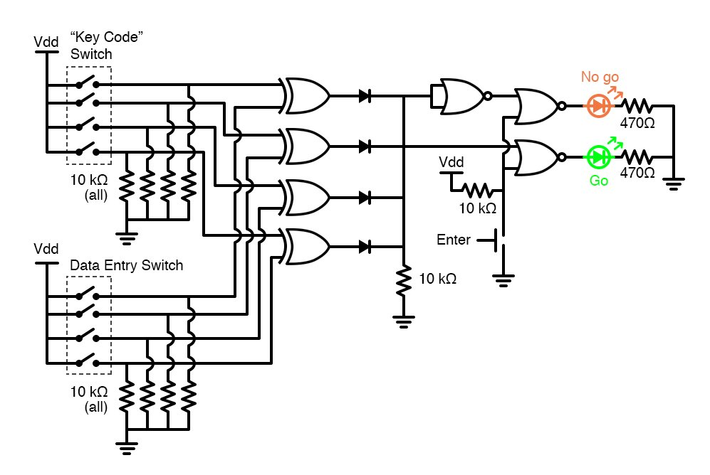 Simple Combination Lock Digital Integrated Circuits Electronics Textbook