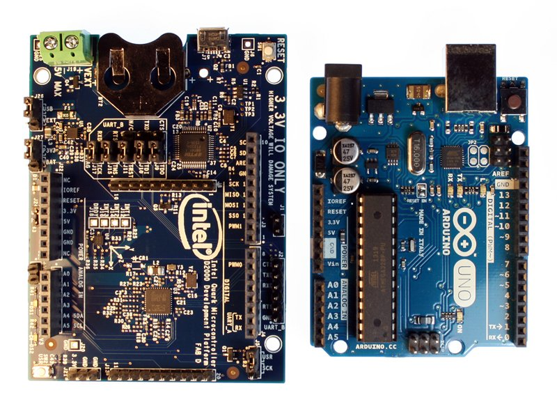 The D2000 and Arduino UNO side by side.