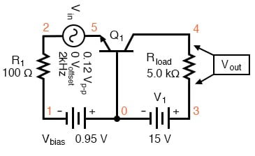 Common-base circuit for SPICE AC analysis.