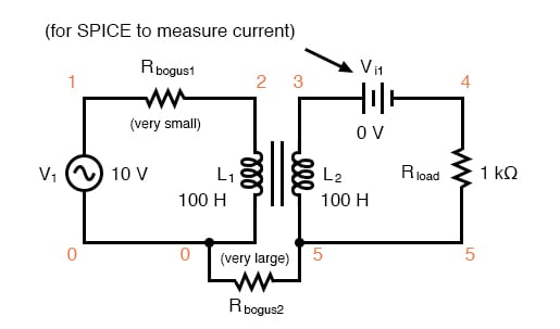 Spice circuit for coupled inductors.
