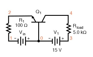 Common-base circuit for DC SPICE analysis.