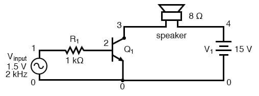 SPICE version of common emitter audio amplifier.