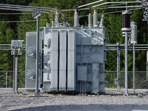 Substation transformer.