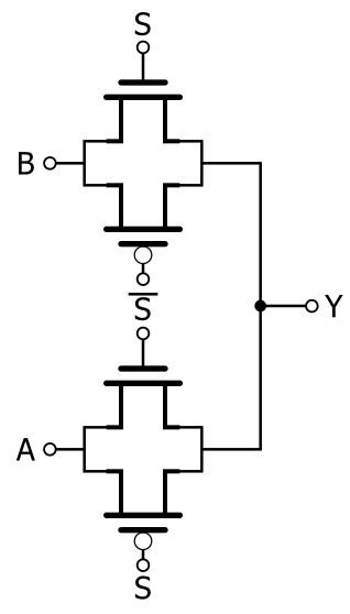 and this type of functionality is so closely related to pass-transistor  operation that the above circuit needs almost no explanation