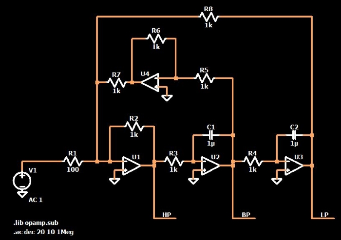 One circuit three bode plots the omnifilter so the general idea here is a circuit that has one input signal and three output signals the output signal from the first op amp is a high pass filtered ccuart Choice Image