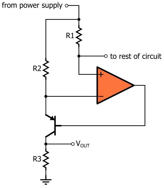 how to monitor current with an op-amp  a bjt  and three resistors