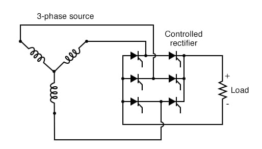 Three-phase bridge SCR control of load