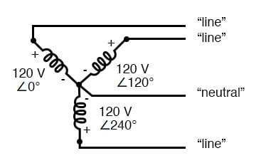 "three-phase, four-wire ""y"" connection uses a ""common"""