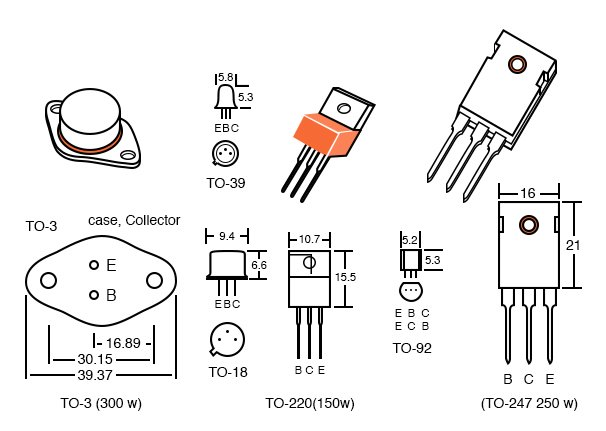 Transistor packages, dimensions in mm.