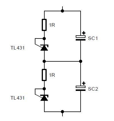 A supercapacitor balancing circuit with Zener overvoltage protection (2.5V).