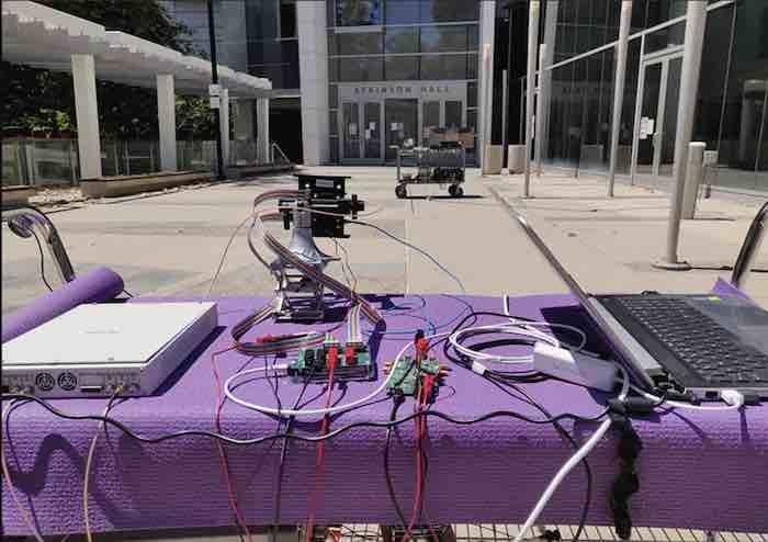 The outdoor DUT setup for multi-beam mmWave testing.