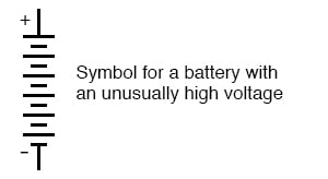 unusually high voltage symbol for battery