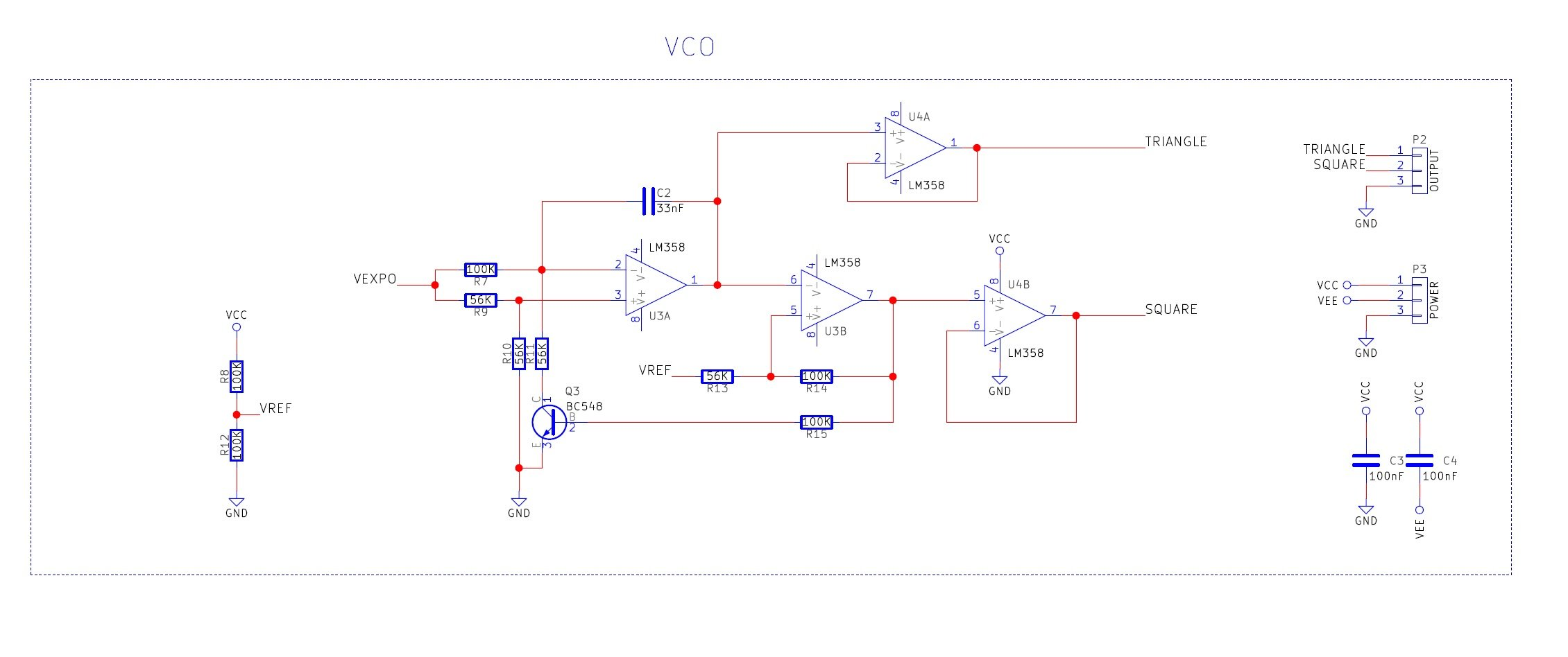 Diy Synth Series Part 1 The Exponential Vco Circuit Is A Triangle Waveform Generator That Uses As Few This Oscillator Has Four Sections