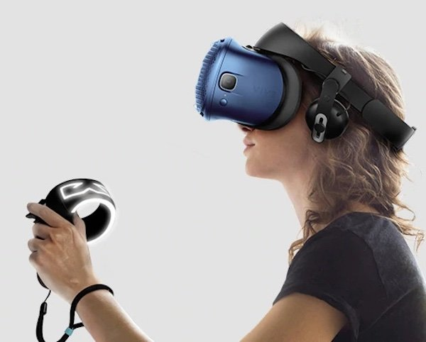 Example of an HTC Vive, which uses a hand controller for interaction.