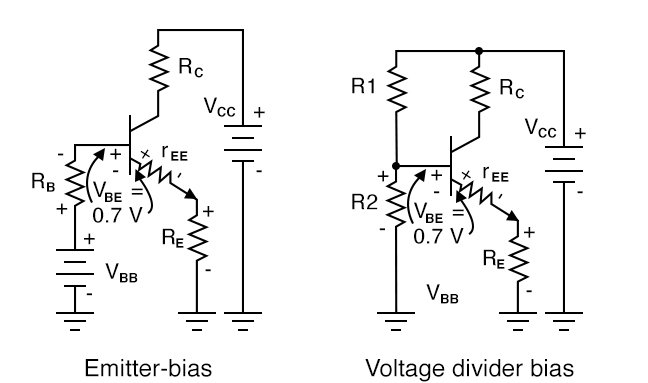 Voltage Divider bias replaces base battery with voltage divider.