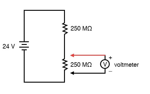 voltmeter impact on measured circuit dc metering circuits IGBT Tester Circuit Diagram