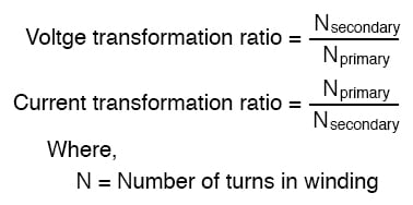 "Transformers ""step up"" or ""step down"" voltage according to the ratios of primary to secondary wire turns."