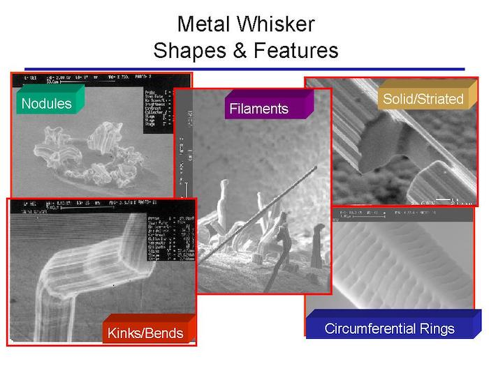 An image of the different shapes and features of Metal Whiskers.