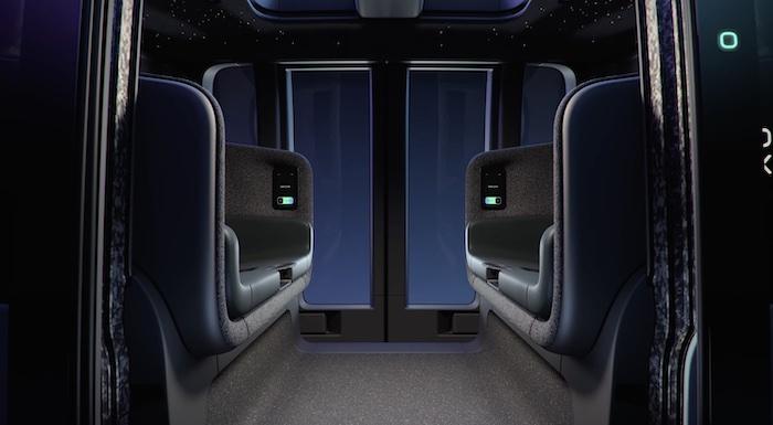 A Zoox vehicle cabin.