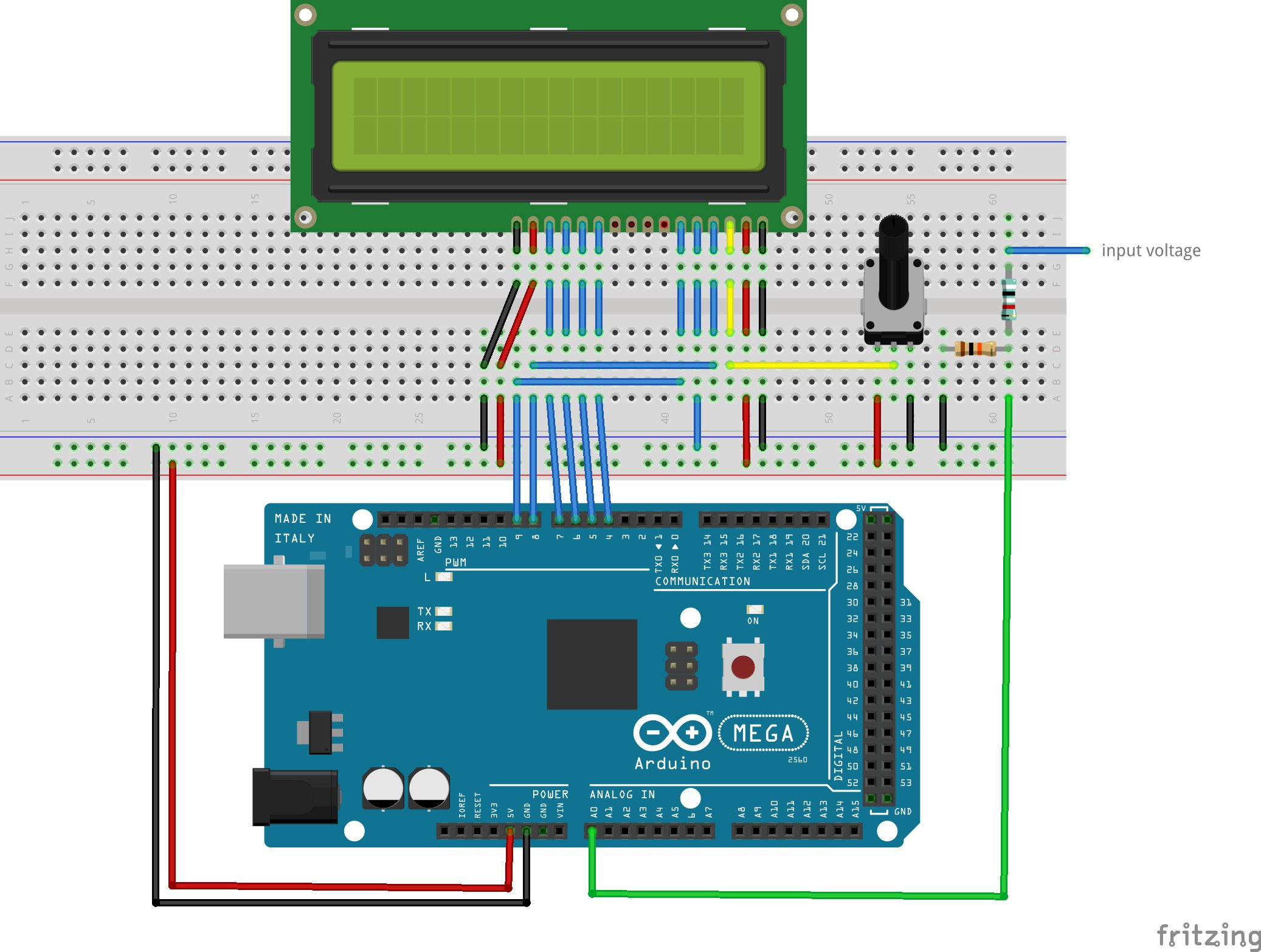 Make A Digital Voltmeter Using An Arduino Resistors Simple Voltage Divider Question Electrical Engineering Except That We Now Have Made Up Of 909 Kohm Resistor And 10 Connected To The Input See Diagram Below